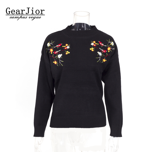 Новые Лидер продаж женские на осень-зиму весна свободные трикотажные свитера женщина колледжа Ветер сладкий вышивка пуловеры свитер