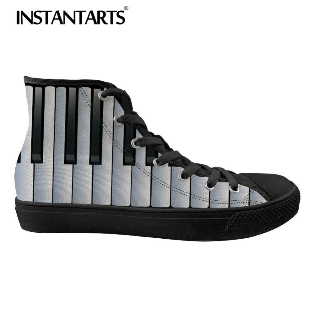 INSTANTARTS décontracté chaussures en toile classique printemps chaussures hautes Notes de musique avec clavier Piano imprimer baskets plates pour les garçons
