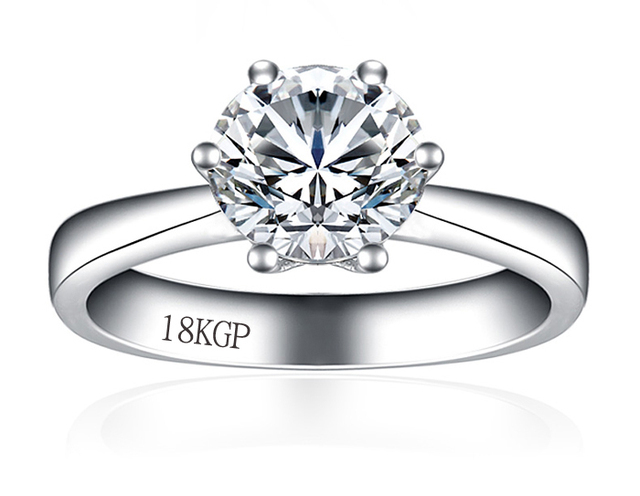 Big Promotion Gold Color Ring With 18KGP Stamp Real White Gold Filled Ring 8mm 2 Carat CZ Diamant Wedding Rings For Women YH099
