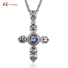Pure 925 Sterling Silver Cross Pendant Created Mystical Fire Rainbow Lab Topaz CZ Stone Pendant Fashion Vintage Brand Jewelry