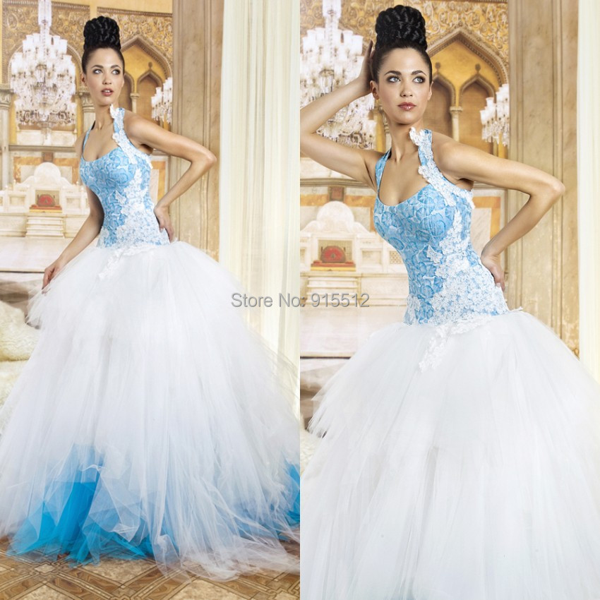 New Style Gorgeous Halter Ball Gown Lace vestido de noiva Sky Blue ...