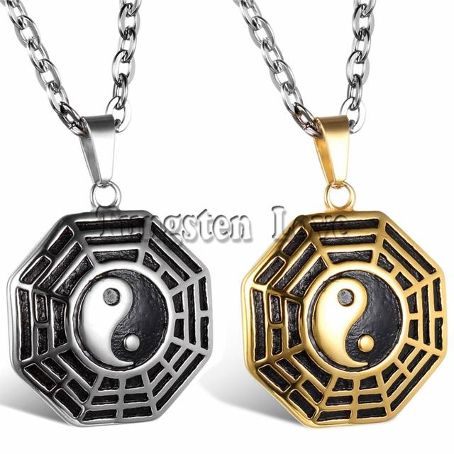 New collana vintage chinese stainless steel bagua pendant mystical new collana vintage chinese stainless steel bagua pendant mystical yin yang pendant necklace for men gift aloadofball Image collections