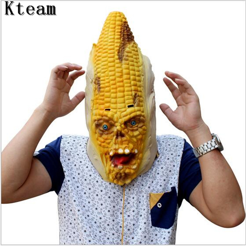 New Full Face Scary Burn Corn Mask for Cosplay Latex Mask Horror Masquerade Adult Ghost Halloween Theater Props Party XMAS Decor