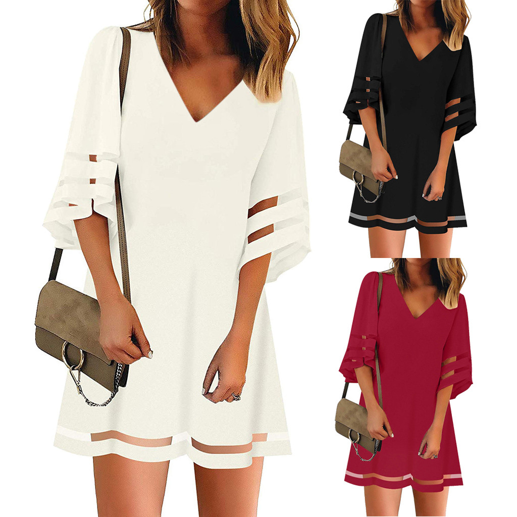 Girl clothing 2020 Women's V Neck Mesh Panel Blouse 3/4 Bell Sleeve Loose Top Shirt Dress Elegant Women's Bodycon Sexy new@5