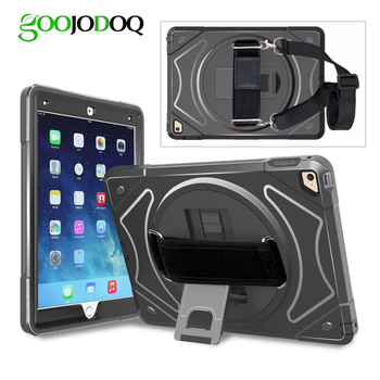 Shockproof Case for iPad 2018 2017 9.7 Air 2 Air 1 Cover Kids + 360 Stand Shoulder Hand Strap Case for iPad 5th/6th Generation