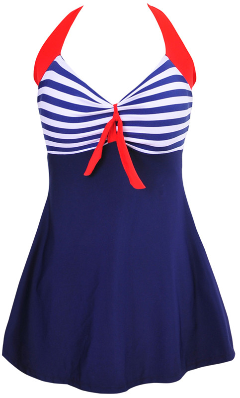 Sexy Stripe Padded Halter Skirt Swimwear Women One Piece Swimsuit Beachwear  Bathing suit Swimwear dress Plus size M~5XL 1