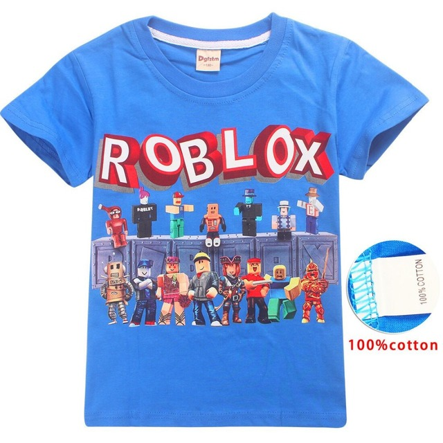 US $5 53 21% OFF|2019 high quality Cute Roblox T shirts Summer Top O neck  100%Cotton Girls Clothes Kids tshirt Cartoon Summer Clothing-in T-Shirts