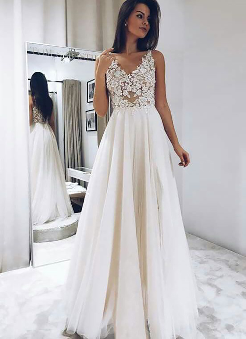 LORIE Beach Wedding Dress 2019 A Line Top Lace Boho Bride Dress Sexy Appliques Wedding Gown Custom Made Vestido De