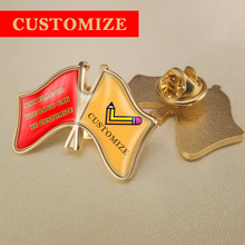Hot Selling Best High Quality Any Two Countries and Areas Crossed Flags Lapel Pins