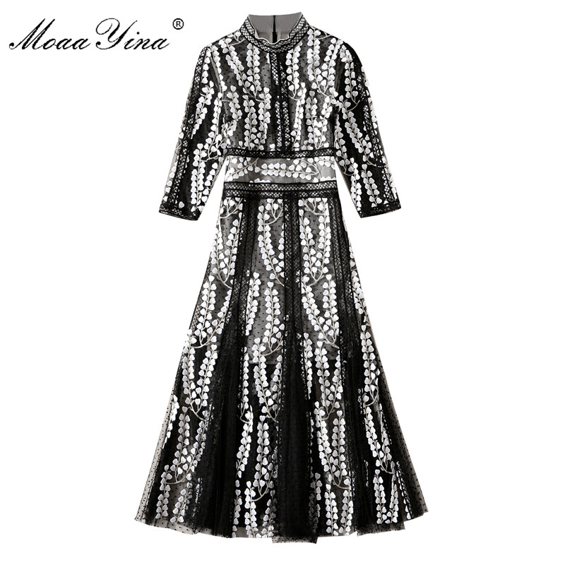 MoaaYina Designer Runway Sexy Dress Spring Women 3/4 Sleeve Mesh Embroidery Hollow Out Patchwork Casual Holiday Vinage Dress
