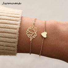 2018 New Simple Female Personality Hollow Lotus Gold Bracelets Christmas Bangle Gift for Women(China)
