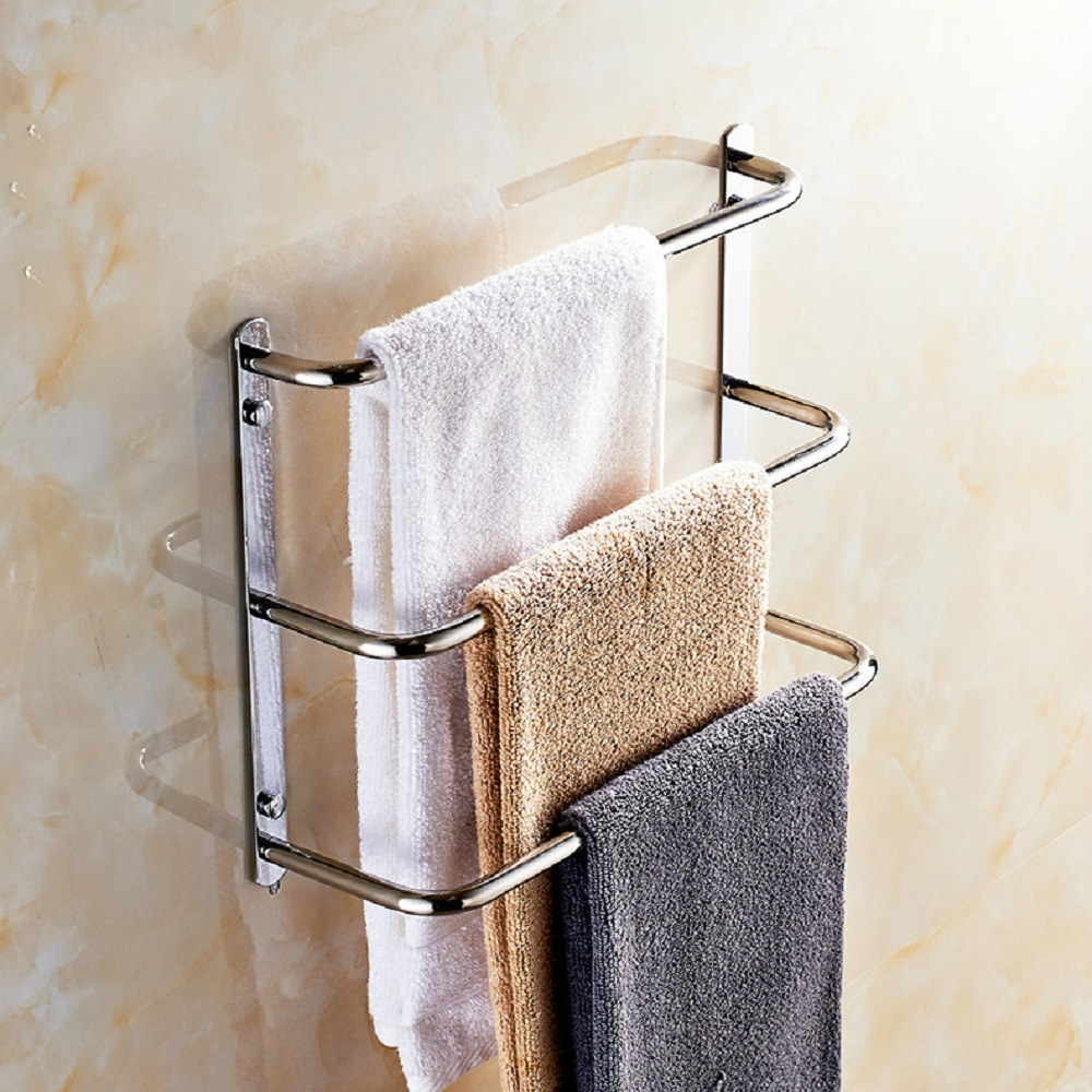 Wall Mounted Stainless Steel 3 Layers Towel Shelf Mirror