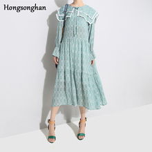 Hongsonghan Spring Floral Dot Women Bohemian Dresses Elegant Long Sleeve Loose Waist Chic Dress Ladies Sailor Collar Dress Tide цены