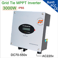 3000W 220V AC Single Phase Grid Tie Solar Inverter with DC Switch, RS232 port, IP 65 for home use, available for European Market