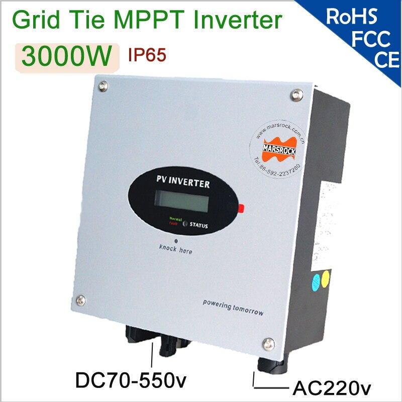 Onduleur solaire de lien de grille monophasé à ca de 3000 W 220 V avec le commutateur de cc, port RS232, IP 65 pour l'usage à la maison, disponible pour le marché européen