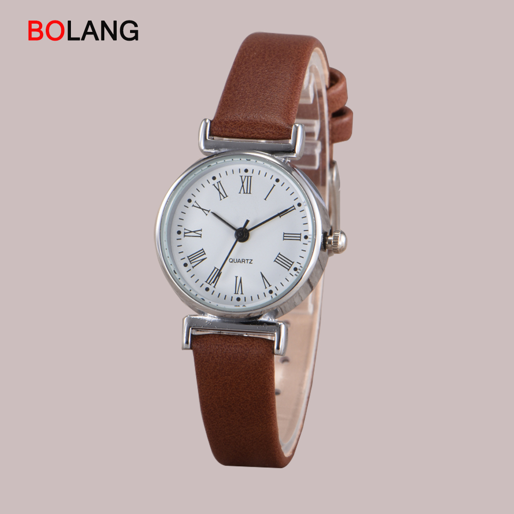 BOLANG Elegant Round Roman Scale Dial Small Women Watches Quartz Dress Leather Band Casual Fashion Watch 2018 Female Clock paidu fashion men wrist watch casual round dial analog quartz watch roman number faux leatherl band trendy business clock