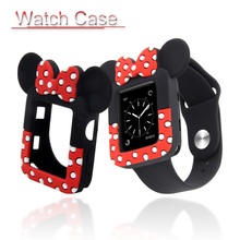 Minnie Watch Case For Apple Watch 3 2 1 Cartoon Protective Cover For iwatch 38mm 42mm Bumper Cute Mickey Mouse Ears Soft Shell стоимость