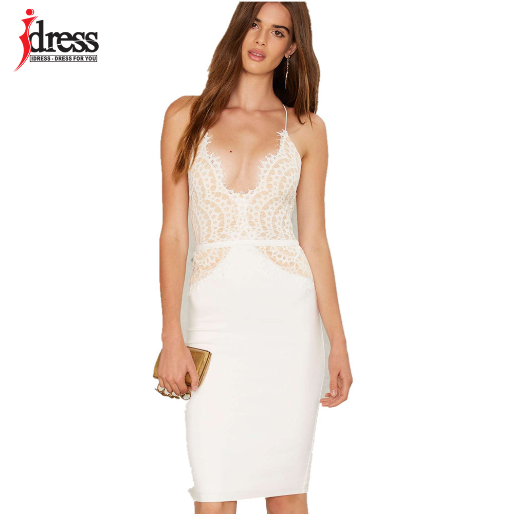 Idress black white sexy club factory patchwork lace dress - White dress party ...