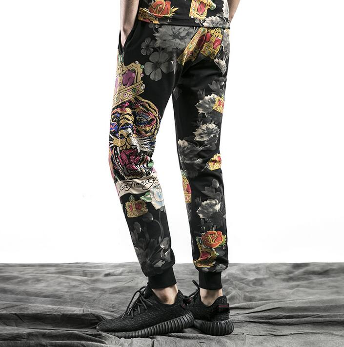 Thin loose personality fashion mens casual pants printing harem pant men feet trousers pantalones hombre cargo pantalon homme