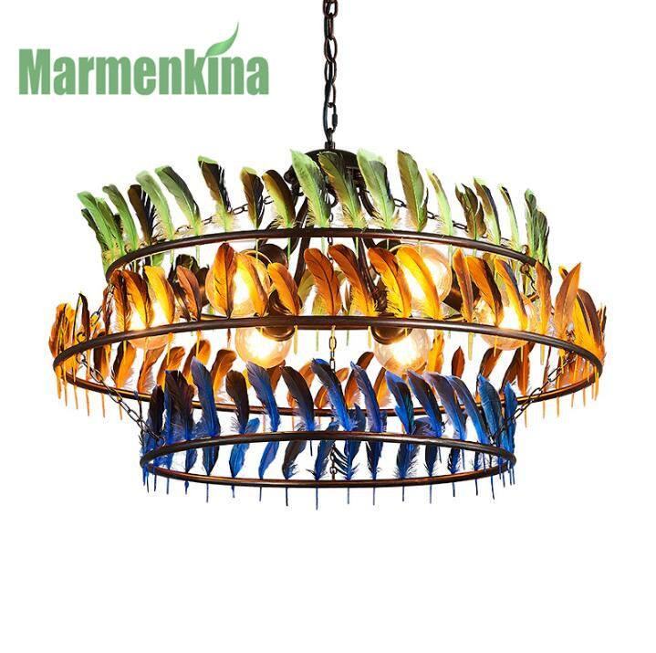 Nordic living room dining room colored feather chandelier American industrial bar cafe clothing store lights.E27*6,AC110-240V. european rural bird marble hemp rope chandelier cafe restaurant corridor balcony chandelier size 33 38cm e27 ac110 240v