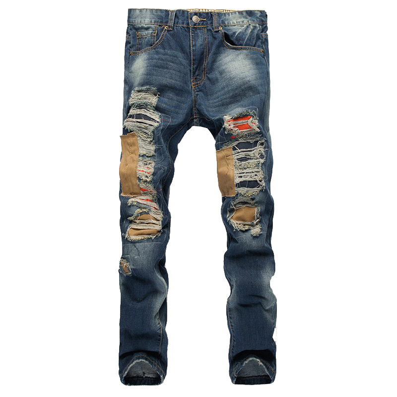 font b Men b font Patch personality Hole Patches Straight Slim European and American jeans