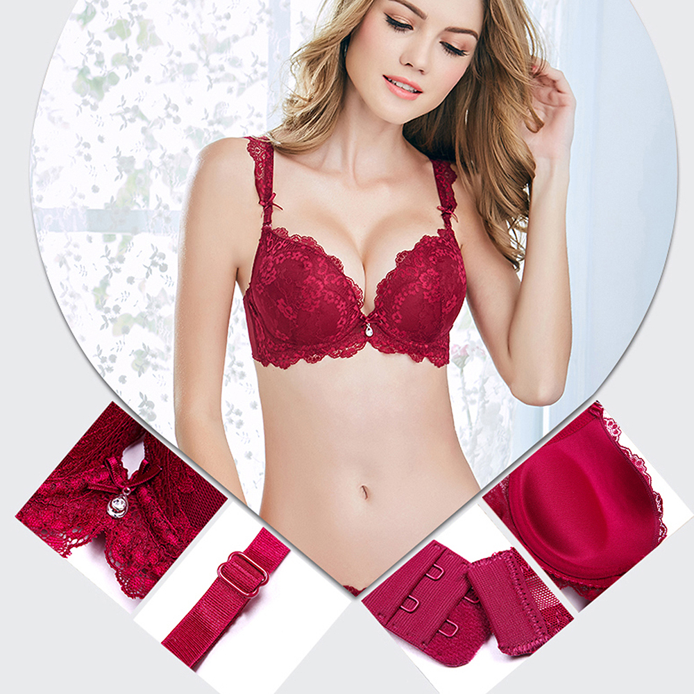 2019 New Arrival   Bras     Brief     Sets   Padded Print Push Up Lace Embroidery Crop Top Bralette   Bra     Set   For Women Large Size