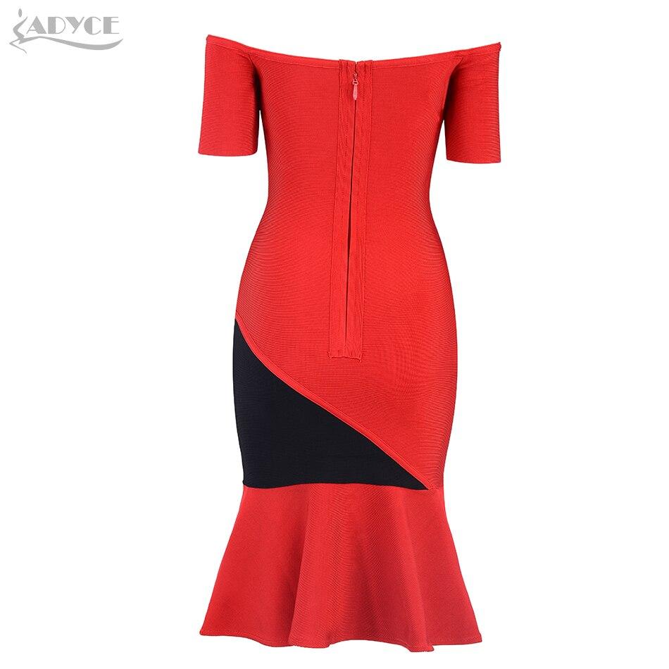 Slash Robe Adyce Sirène Robes Épaule Party Bandage 2019 Red Cou Celebrity D'été Club Noir Femmes Moulante Nouvelle Sexy zqrFXz