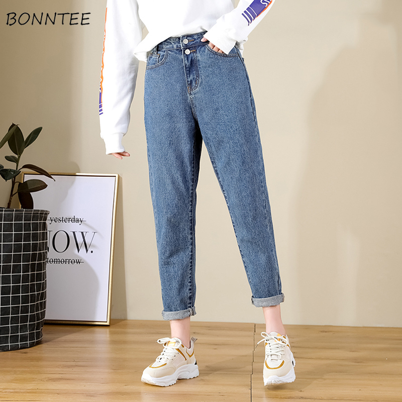 Jeans Women Spring 2019 New Korean Version High-waisted Womens Fashion Chic High Quality Pocket Straight Zipper Single Button