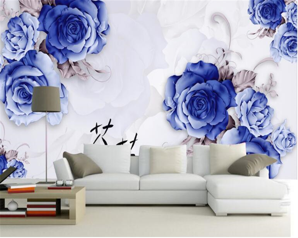 Beibehang Thicken Wallpaper Blue Rose Reflection D Stereo
