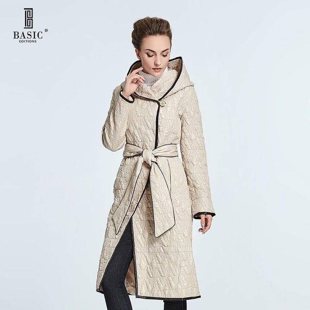 BASIC EDITIONS Spring Autumn Women Long Jacket Thin Cotton Coat Ladies Slim Long Hooded Collar Adjustable Waist Coat - 14S-62