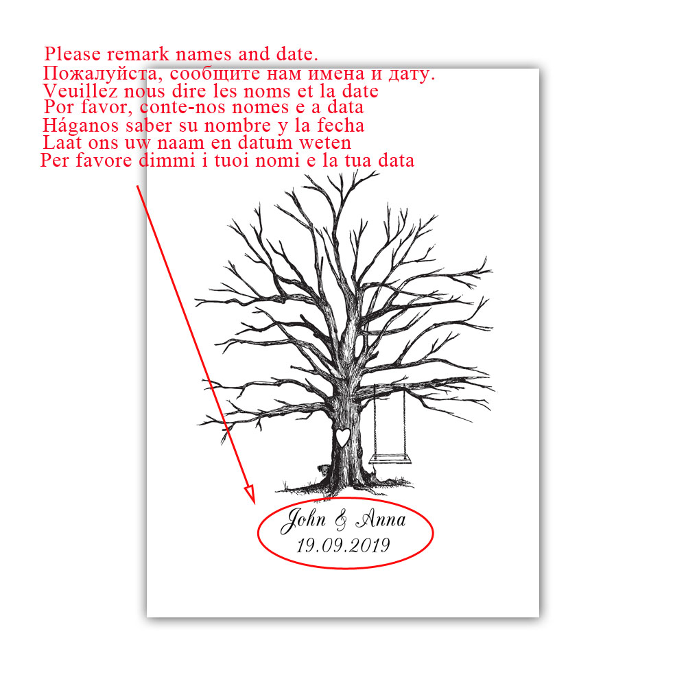 Swing In Wedding Tree Free Custom Name Date Fingerprint Guest Book DIY  Thumbprint Signature Guest Sign Book For Wedding Party