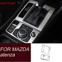 Car stainless steel modified gear panel decorative sequins trim For MAZDA 6 atenza m6 2014 2015 2016 2017