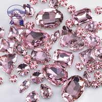 Paillettes forme mixte verre strass pour vêtements rose Flatback artisanat gemmes cristal coudre sur strass avec griffe 50 PCS/PACK S048