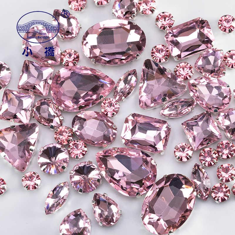 グリッター混合形状ガラス用ピンク売春クラフト宝石クリスタルラインストーンで爪 50 ピース/パック S048