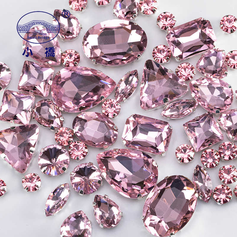 89a2b95030 Glitter Mixed Shape Glass Rhinestones For Clothes Pink Flatback Craft Gems  Crystal Sew On Rhinestone With Claw 50PCS/PACK S048