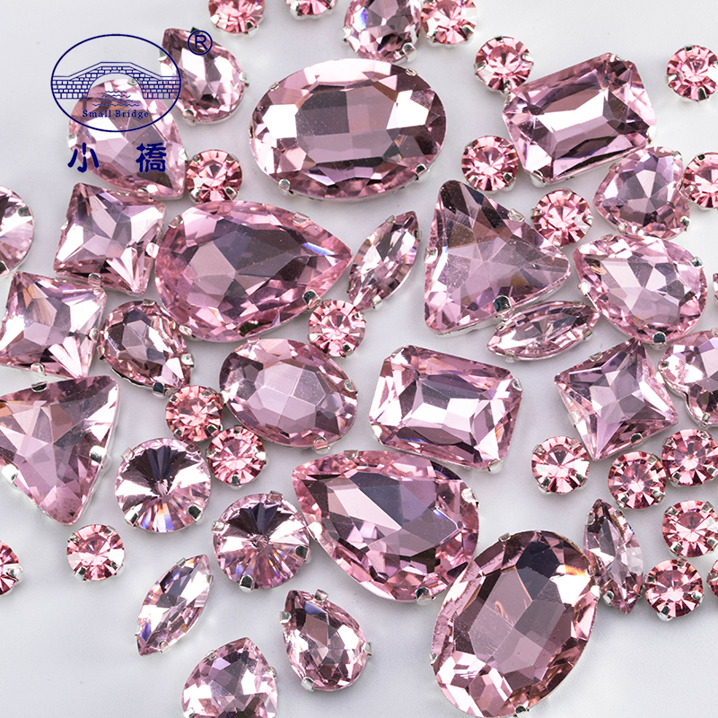 Glitter Mixed Shape Glass Rhinestones For Clothes Pink Flatback Craft Gems Crystal Sew On Rhinestone With Claw 50PCS/PACK S048(China)