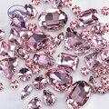 Glitter forma misturada strass de vidro para roupas rosa flatback artesanato gemas cristal costurar em strass com garra 50 unidades/pacote s048