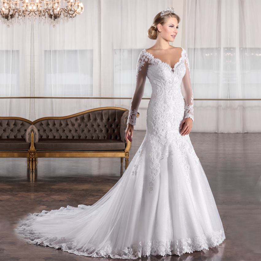Lange Appliques Hülse De Noiva China Brautkleider Manga Kleider Meerjungfrau Longa 2018 Vestido Sexy Back Casamento Perlen Hochzeit wSYqpx4x