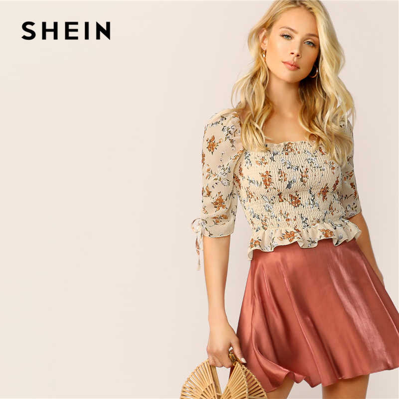 ab5908e3b9a Detail Feedback Questions about SHEIN Boho Apricot Drawstring Sleeve Ruffle  Hem Shirred Crop Top Blouse Women Summer Square Neck Ladies Frilled Tops and  ...