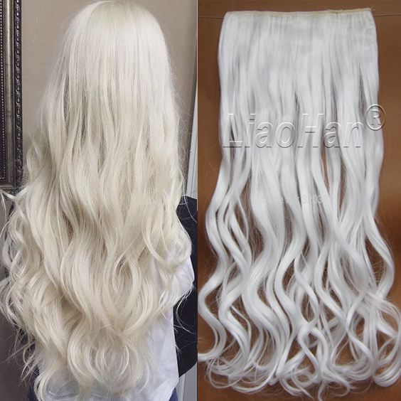 Women Hair Extensions White Color 60cm Long Synthetic Hairs Clips In
