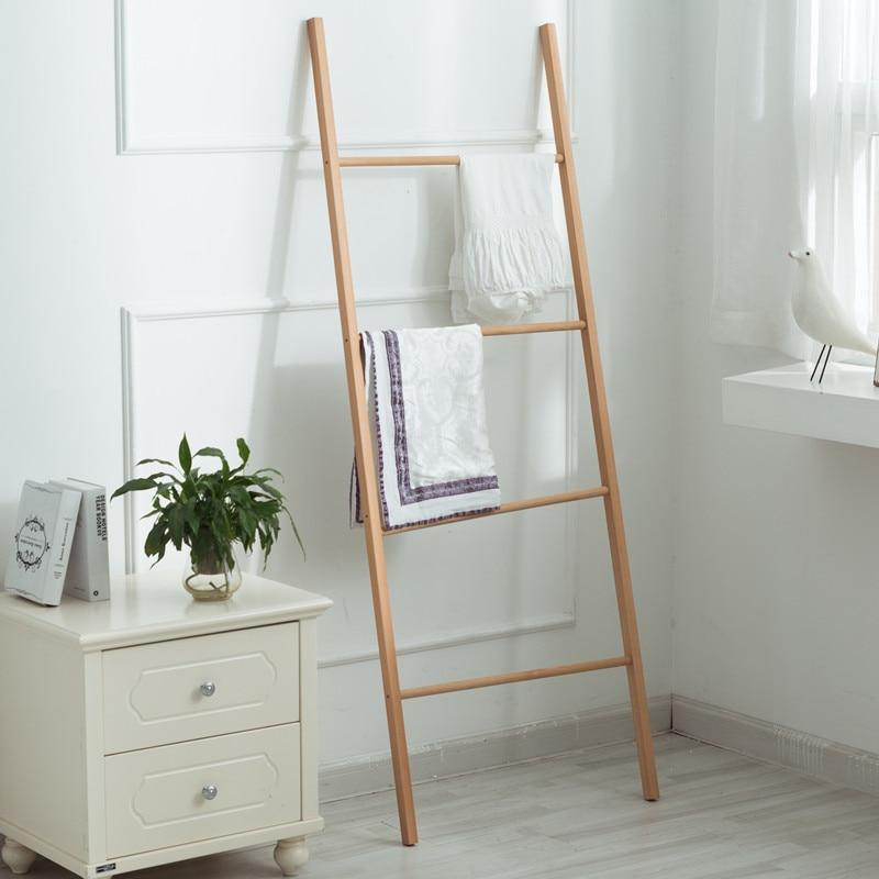 Furniture Ladder Solid Wood Coat Rack Clothes Hanger Stand Towel Rack Hat Standing Bathroom Shelves Clothing Racks For Home
