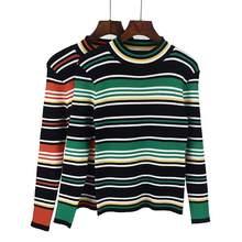 2018 nueva rayas primavera otoño mujer Pullover suéter alta elasticidad de  punto suave Casual o-cuello mujer suéter 38105d686ec5