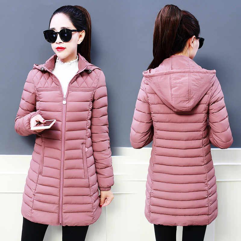 冬の女性の上着 2018 新中期ロングフード付き女性の綿のジャケット薄型大サイズ長袖暖かいレディースパーカー cw510