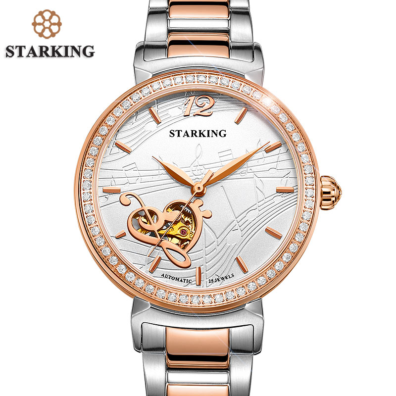 STARKING Watch Woman Luxury Famous Brand 2016 Rose Gold Stainless Steel Watches Ladies Fashion Dress Watch Mechanical Wristwatch 2017 new jsdun luxury brand automatic mechanical watch ladies rose gold watches stainless steel ladies tourbillon wrist watch