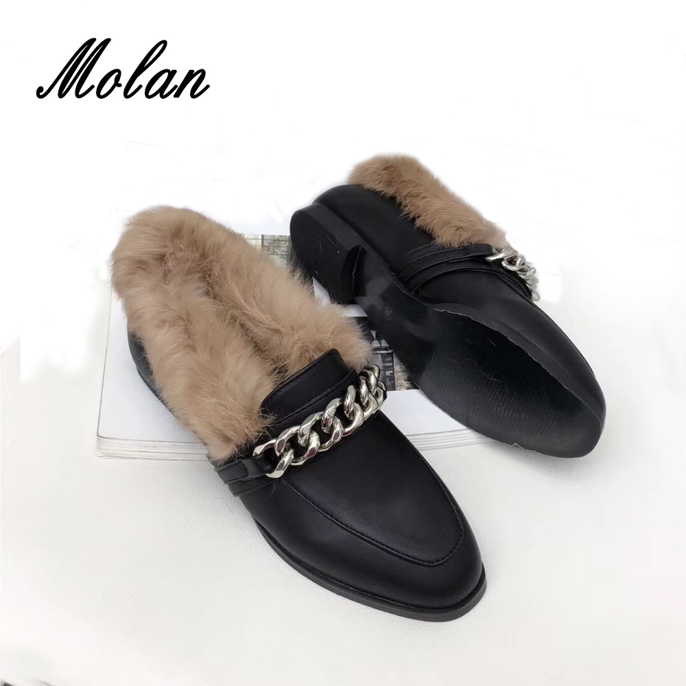 MOLAN Designers 2018 Fashion Good Leather Shoes Woman With Metal Chain Slip On Flats Fur Loafers Casual Large Plus Size 5 to 9 dysprosium metal 99 9% 5 grams 0 176 oz