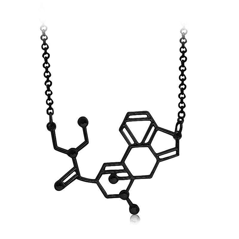 LSD aka kwasowa struktura cząsteczki chemicznej wisiorek naszyjniki BFF prezent miłosny dla mężczyzn i kobiet czarna biżuteria na zamówienie hurtowo