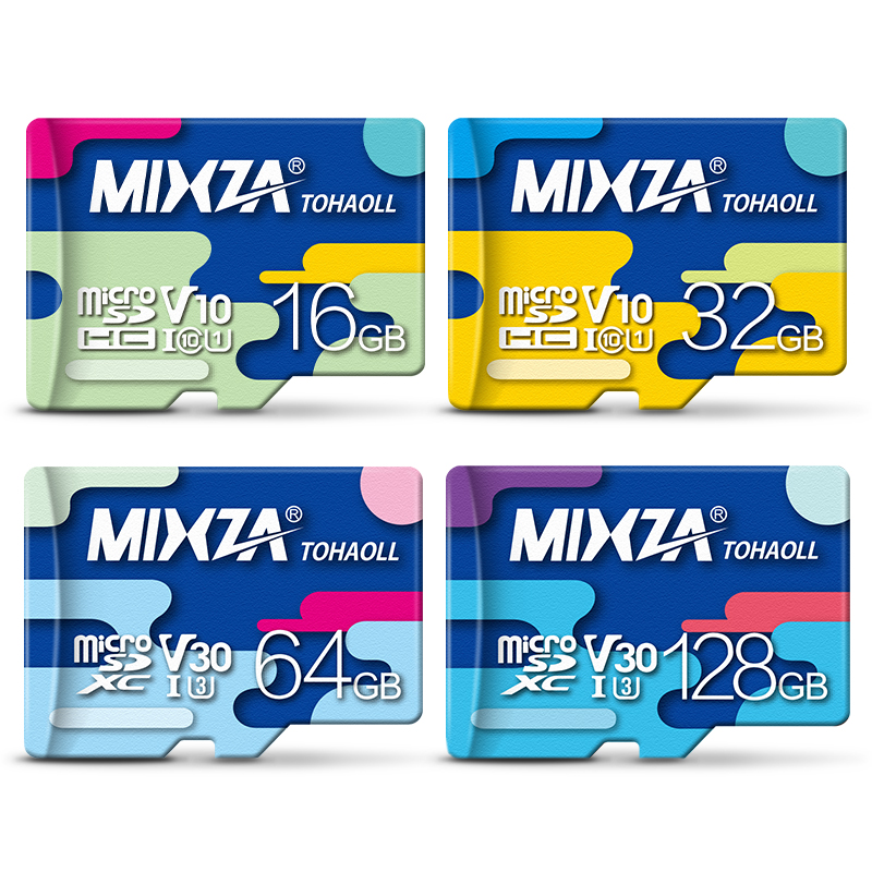 MIXZA Micro SD Card Class 10 256GB U3 90MB/S 128GB 64GB 32GB 16GB Class10 UHS-1 Memory Card Flash Memory Microsd for Smartphone