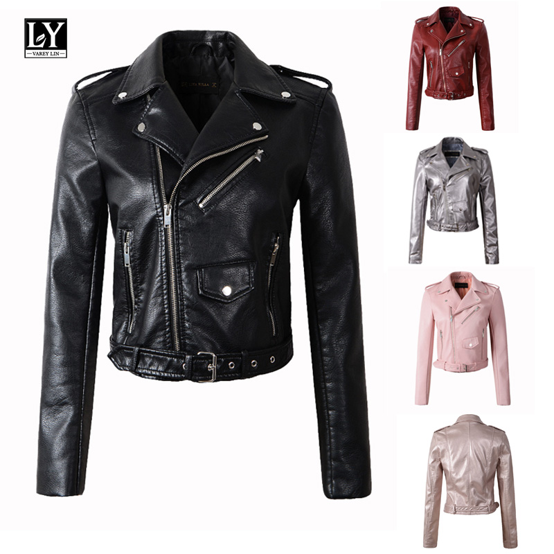 Ly Varey Lin Women Faux Soft   Leather   Jacket Pu Motorcycle Red Jacket Turn-down Collar Pink Biker Zipper Design Punk Black Coat
