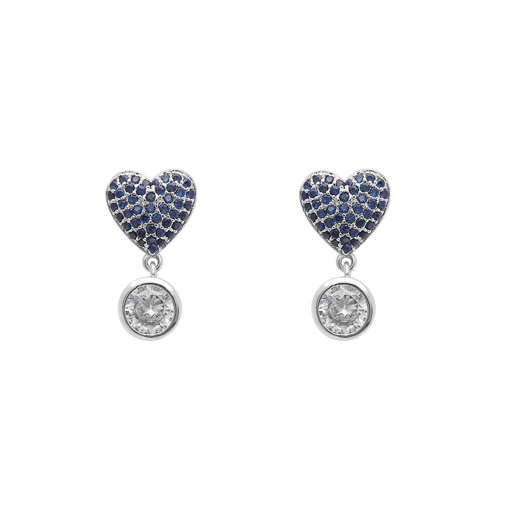 Seanlov 2018 New Korean Blue Rhinestone Love Heart Charm Drop Earrings For Women Romantic Luxury Wedding Engagement Earrings in Drop Earrings from Jewelry Accessories