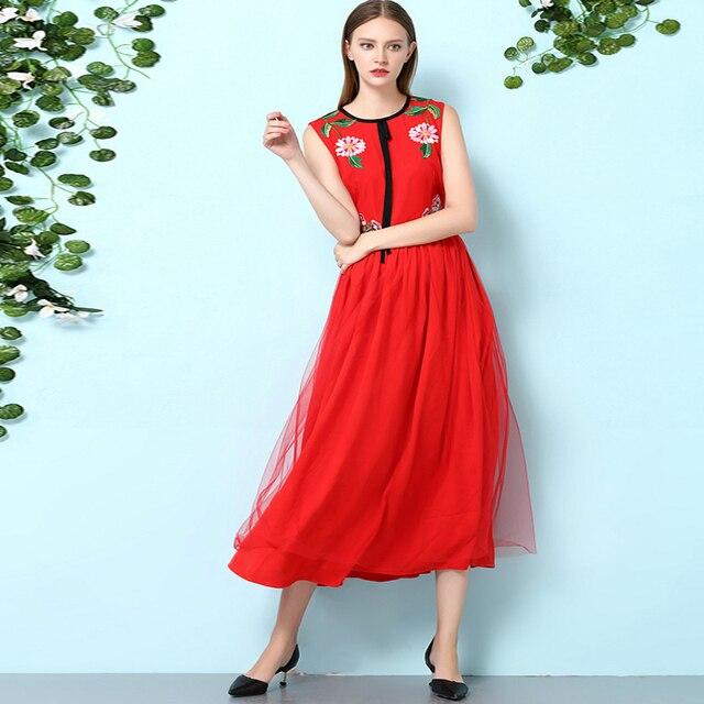 Mooie Rode Jurk.Mooie Rode Jurk Prinses Mouwloos Vest Borduren Elegante Slanke